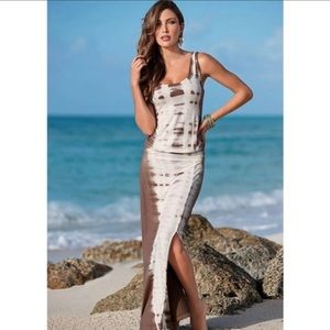Venus tie-dye maxi dress brown & white t back